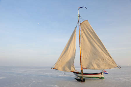 marken: Traditional Ice Yacht  on the frozen lake (gouwzee Between Edam and Marken Netherlands)
