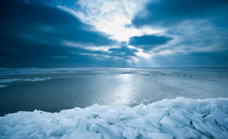 shelf ice and sunset in Marken a small village near Amsterdam The Netherlands Stock Photo - 8278198