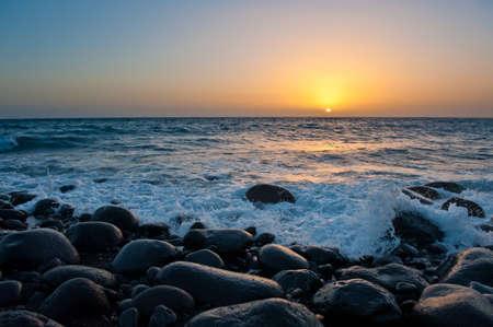sunset in Tazacorte, La Palma, canary islands, spain Stock Photo - 8821997