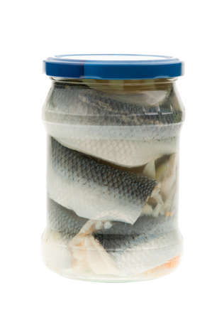 A jar of Pickled herring, isolated on a white background Stock Photo - 8821895