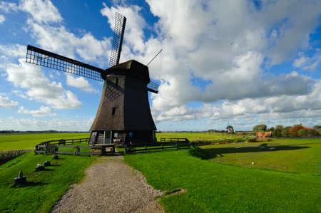 schermerhorn: beautiful windmill landscape in the Netherlands, Schermerhorn, Schermer, Noord-Holland  Stock Photo