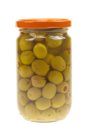 A jar of stuffed green olives isolated on a white background photo