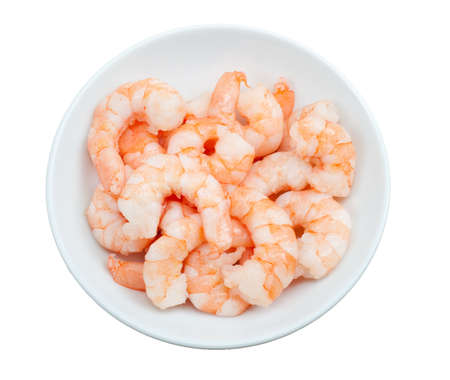 prepared shrimp: prepared shrimp in a bowl  isolated on a white background