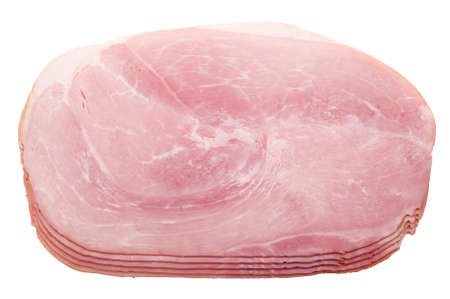 jambon: slices of ham isolated on a white background