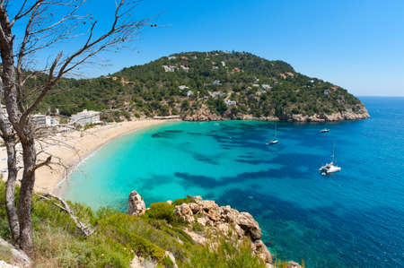 Cala de Sant Vicent on the North East of Ibiza, Spain Standard-Bild - 9270632