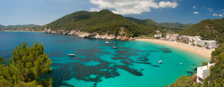 Panorama of Cala de Sant Vicent on the North East of Ibiza, Spain