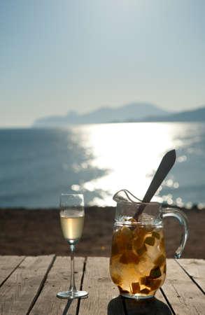 White sangria at the coast of Ibiza Spain