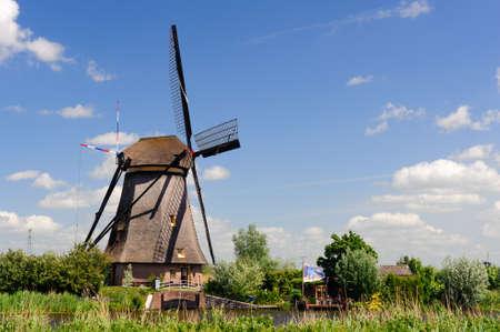 Windmill Landschaft am Kinderdijk nahe Rotterdam Niederlande Lizenzfreie Bilder