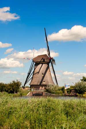 Windmill landscape at Kinderdijk near Rotterdam The Netherlands Stock Photo - 9749480