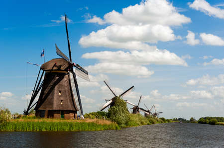 Windmill landscape at Kinderdijk near Rotterdam The Netherlands Stock Photo - 9750964