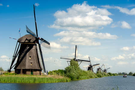 Windmill landscape at Kinderdijk near Rotterdam The Netherlands Stock Photo - 9750963