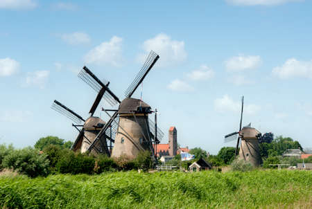 rotterdam: Windmill landscape at Kinderdijk near Rotterdam The Netherlands Stock Photo