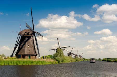 Windmühle Landschaft bei Kinderdijk in der Nähe von Rotterdam Niederlande Lizenzfreie Bilder