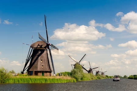 traditional windmill: Windmill landscape at Kinderdijk near Rotterdam The Netherlands Stock Photo
