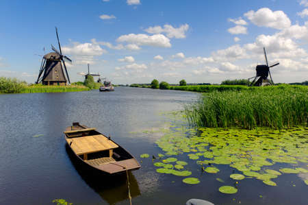 Windmill landscape at Kinderdijk near Rotterdam The Netherlands Foto de archivo