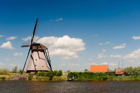 Windmill landscape at Kinderdijk near Rotterdam The Netherlands Stock Photo - 9749475