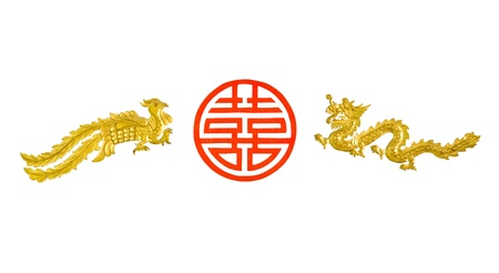 goal a swan and dragon with red chinese character photo