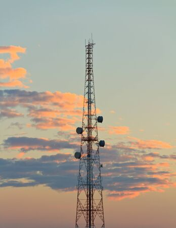 comunication tower at beautiful sky Stock Photo