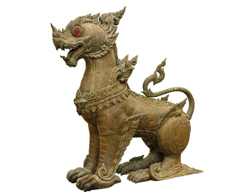 Imagination lion bronze statue in Thai literature  Stock Photo