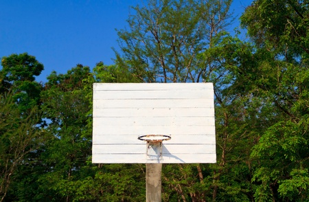 White wood backboard without net on the nature background