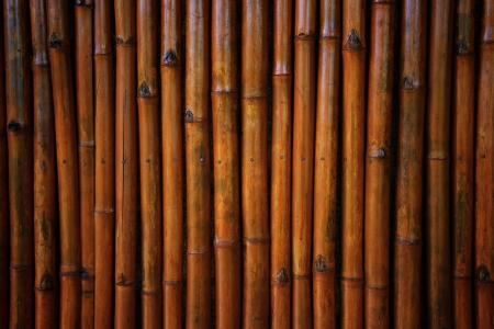 Many bamboo sort lap to thw wall Stock Photo