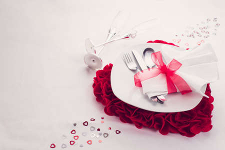 dinner: love valentines dinner set Stock Photo