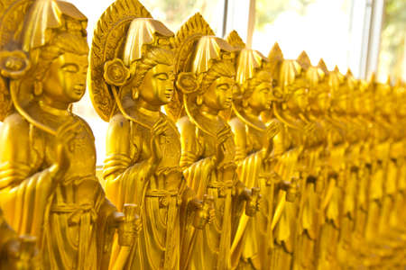 many image of buddha on wall in chinese temple Thailand Stock Photo - 20864627