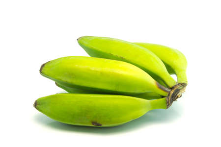 isolated green bananas against the white backgroun Stockfoto