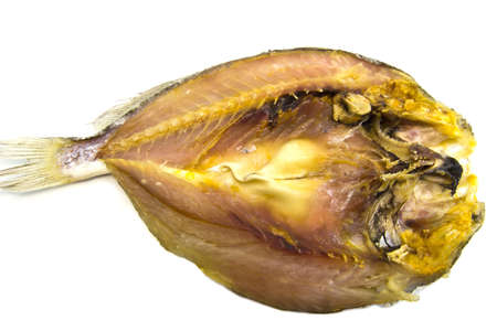 perch dried: Dried fish the perch depurated  Isolated on white background