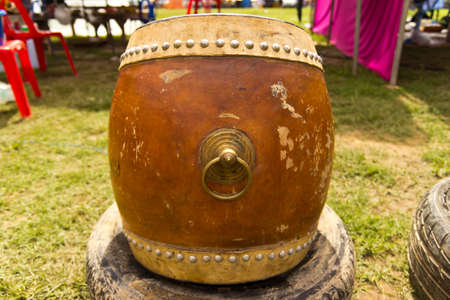 Old drums musical instrument on wool  photo