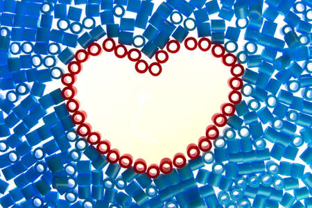 red  heart bead on white background  photo
