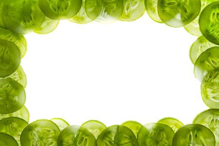 Sliced fresh cucumber, isolated on white photo