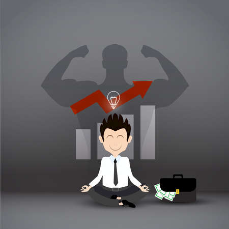 Businessman thinking during meditation, with shadow man strong background