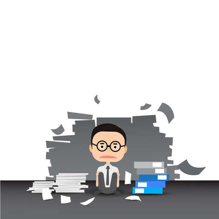 annoyance: Businessman in hard working. A lot of work. Stress at work Illustration