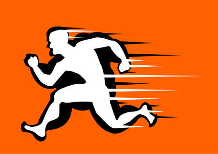 Fat man turning into Thin designed on orange background graphic .