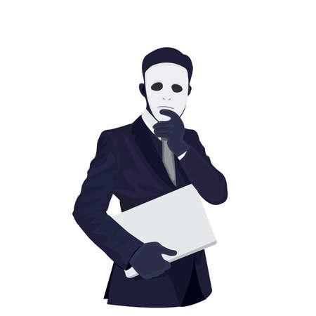 Vector - Businessman wearing a mask vector illustration.