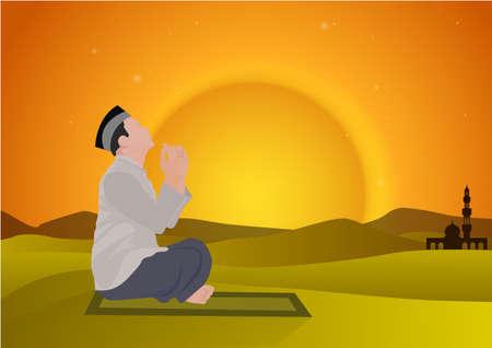 salat: man praying and camel with sunset background Illustration