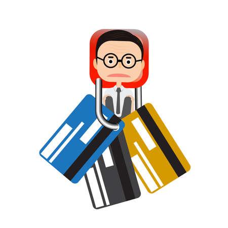 Vector - Businessman stick key lock  and credit card vector Illustration