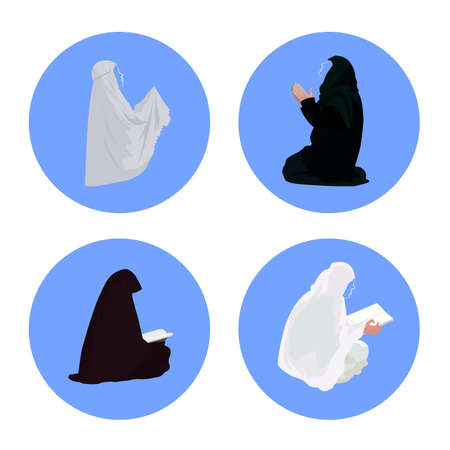 Female muslim praying and reading-quran 向量圖像