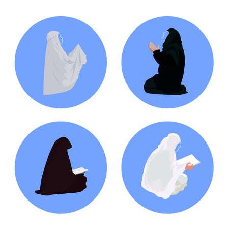 Female muslim praying and reading-quran Illustration