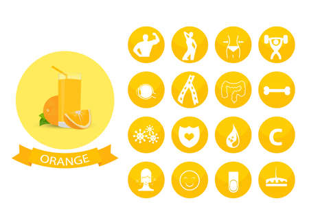 Illustration of a glass of orange juice , infographic elements