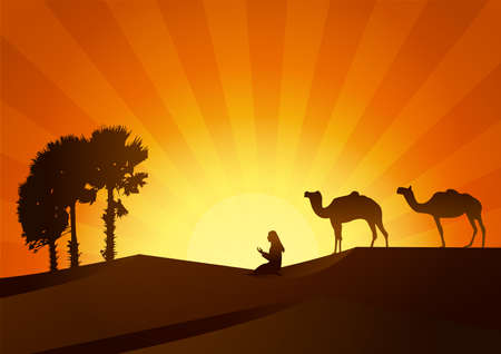 hot couple: silhouettes of camels with people praying at sunset.