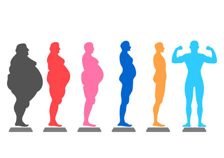 niños sanos: fat body, weight loss, overweight silhouette illustration