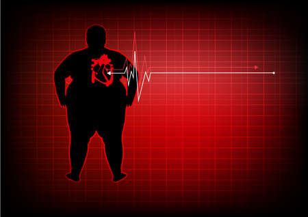 diastolic: Fat people with heart disease abstract background