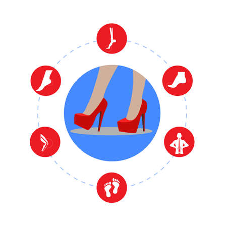 Infografics woman: High heels and Our disease. illustration.