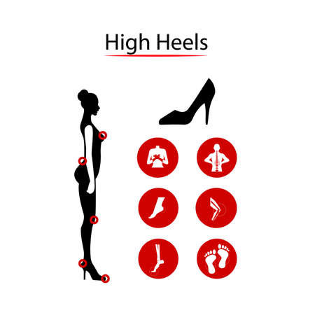 mujeres de espalda: Infografics woman: High heels and Our disease. illustration.