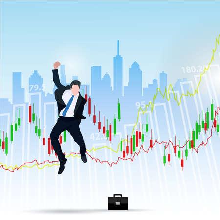businessman s enjoys success deal on stock market illustration.