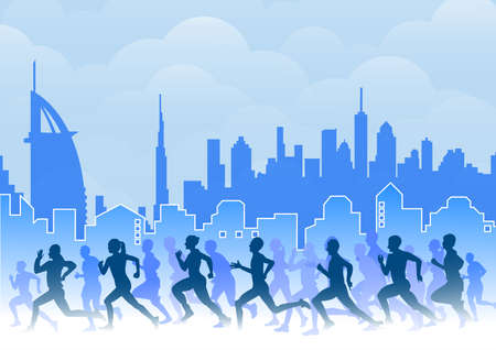 Group of Marathon Runners city background