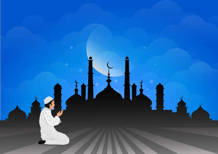 humility: Traditional clothes muslim man making a supplication (salah) while standing on a praying rug against the backdrop of the mosque. illustration. Illustration