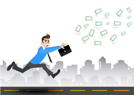 man flying: businessman trying to catch money